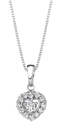 14Kt White Gold Diamond Pendant with Heart Shaped Halo