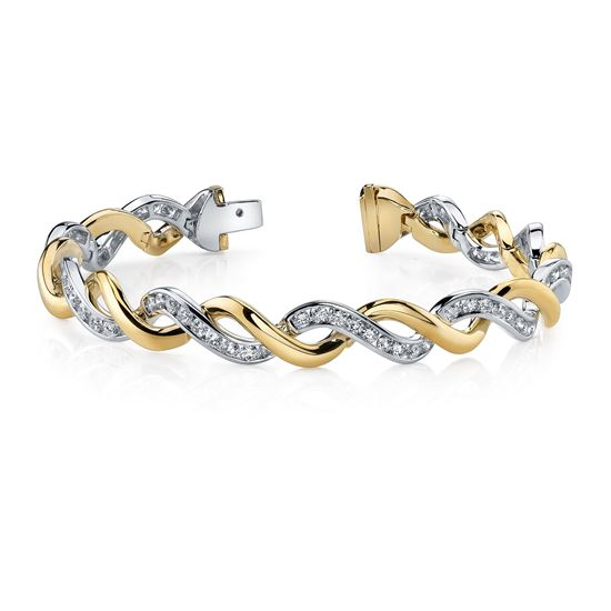 14kt White and Yellow Gold Twisted Diamond Bracelet