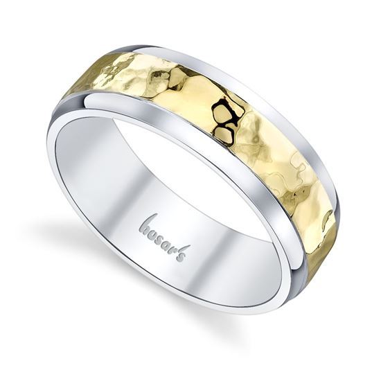 14KT White and Yellow Gold Men's Hammered Wedding Band