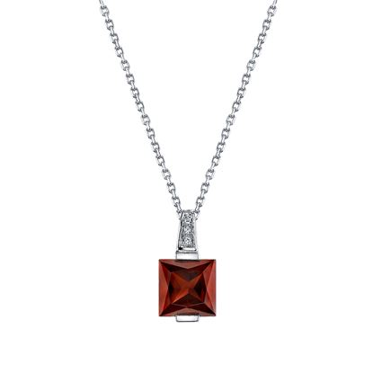 14Kt White Gold Channel Set Princess Cut Pyrope Garnet and Diamond Pendant