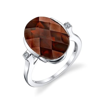 14Kt White Gold Modern Channel Set Oval Pyrope Garnet and Diamond Three Stone Ring