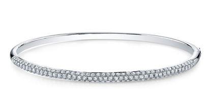 14Kt White Gold Contemporary Pave Diamond Bangle Bracelet