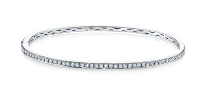 14Kt White Gold, Prong Set Diamond Bangle Bracelet