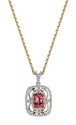 14Kt White and Yellow Gold Vintage Double Halo Style Cushion Cut Pink Tourmaline and Diamond Swirl Pendant