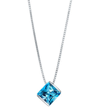 14Kt White Gold Contemporary Style Princess Cut Blue Topaz Solitiare Pendant