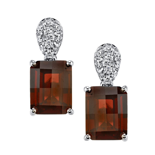 14Kt White Gold Emerald Cut Pyrope Garnet and Pave Set Diamond Earrings