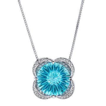 14Kt White Gold Designer Cut Blue Topaz and Scalloped Diamond Design Pendant