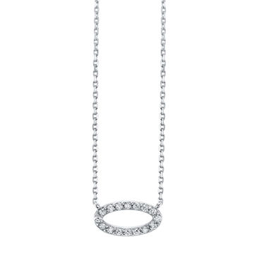 14kt White Gold Modern Style Diamond Oval Pendant
