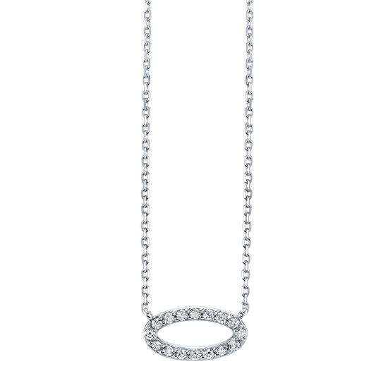 14kt White Gold Modern Style Diamond Oval Pendant