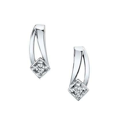 14Kt White Gold Diamond Earrings with Double Swoosh Design