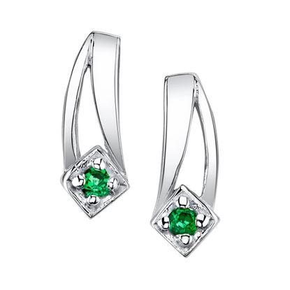14Kt White Gold Double Swoosh Emerald Earrings