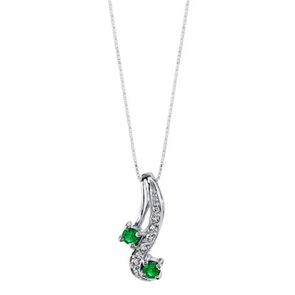14Kt White Gold Curved Emerald and Diamond Pendant