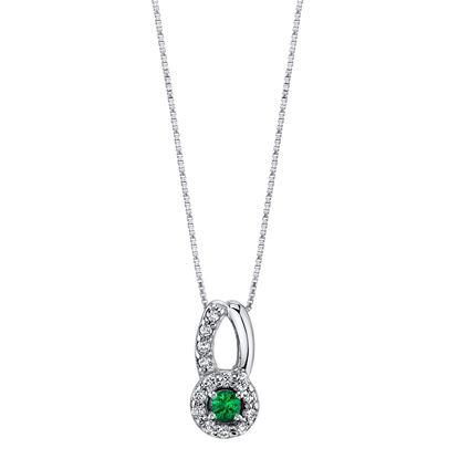 14Kt White Gold Halo Style Emerald and Diamond Ribbon Bale Pendant