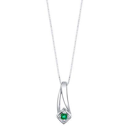 14Kt White Gold Double Swoosh Emerald Pendant