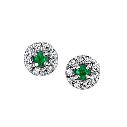 14Kt White Gold Halo Style Emerald and Diamond Stud Earrings