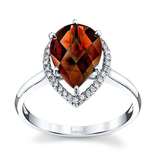14Kt White Gold Classic Pyrope Garnet and Halo Diamond Ring