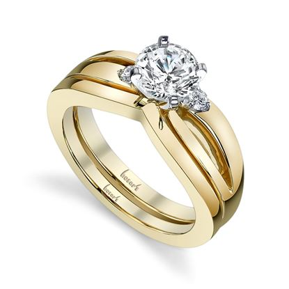 14Kt Yellow Gold Up to Date Three Stone style Split Shoulder Diamond Engagement Ring. *Center Diamond not included.