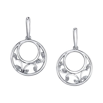 14kt White Gold Double Circle Diamond Earrings with Vine Accent