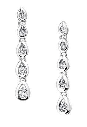 14Kt White Gold Teardrop Dangle Style Diamond Earrings