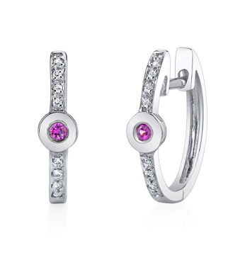 14Kt White Gold Classic Hoop Design Ruby and Diamond Earrings