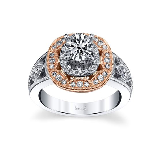 14Kt White and Rose Gold Vintage Double Cushion Halo Diamond Engagement Ring. *Center Diamond not included.