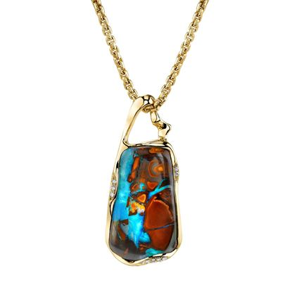 14Kt Yellow Gold One-Of-A-Kind Boulder Opal Pendant