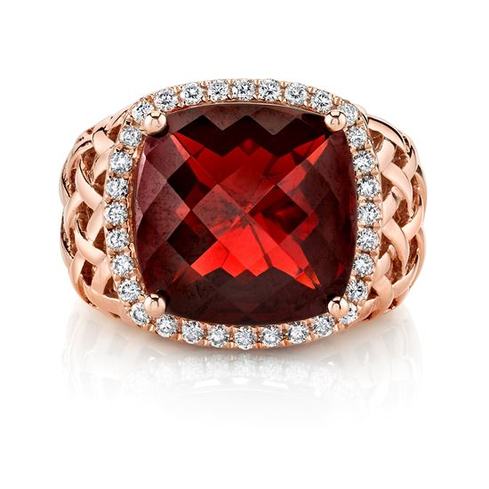 Pyrope Garnet and Diamond Ring