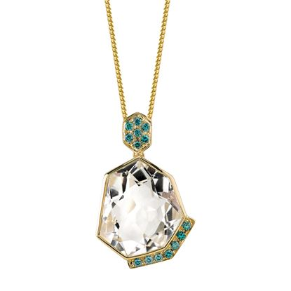 14Kt Yellow Gold Unique Crystal Quartz and Blue Diamond Pendant