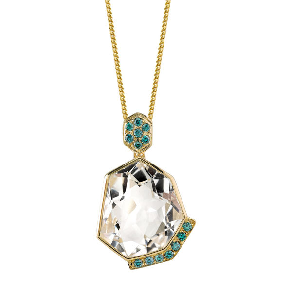 14Kt Yellow Gold Unique Crystal Quartz and Blue Diamond Pendant