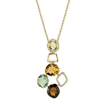 14Kt Yellow Gold Unique Geometric Style Quartz and Diamond Pendant