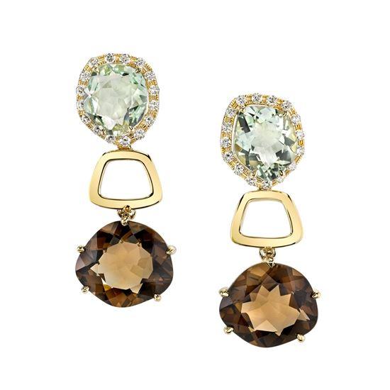 14Kt Gold Geometric Drop Style Quartz and Diamond Earrings