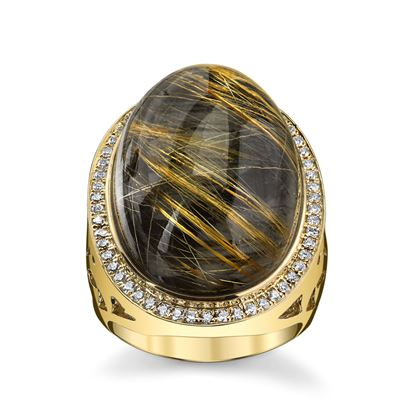 14Kt Yellow Gold One of a Kind Assembled Rutilated Quarts, Hematite and Diamond Ring