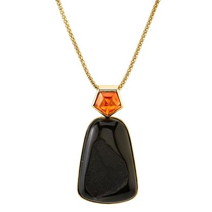 14Kt Yellow Gold Remarkable Druzy and Spessarite Garnet Pendant
