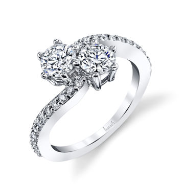 14Kt White Gold Curved Bypass Two-Stone Diamond Ring