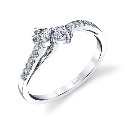 14Kt White Gold Double Bypass Two-Stone Diamond Ring
