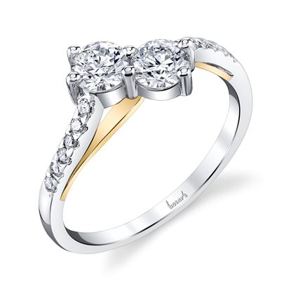 14Kt White and Yellow Gold Curved Double Bypass Two-Stone Diamond Ring