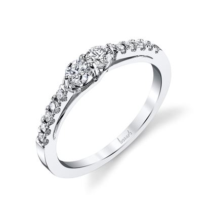 14Kt White Gold Cathedral Two-Stone Diamond Ring