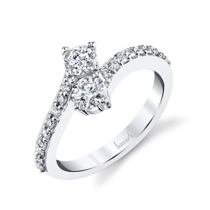 14Kt White Gold Classic Two-Stone Diamond Ring