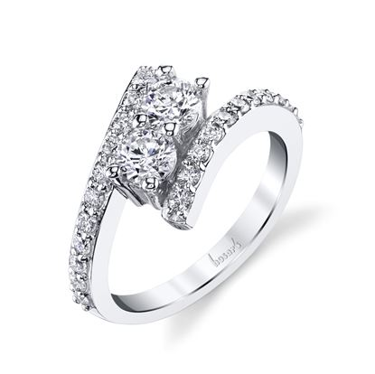 14Kt White Gold Modern Two-Stone Diamond Ring