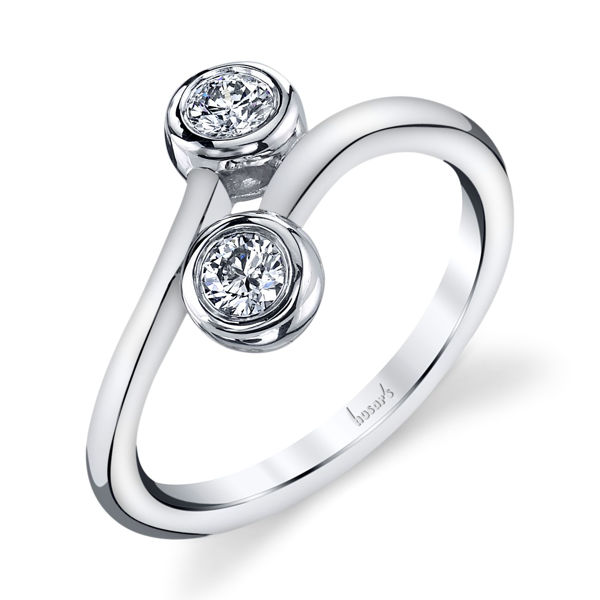 14Kt White Gold Distinctive Two-Stone Diamond Ring
