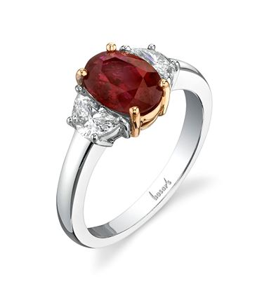 18Kt. White and Yellow Gold Three Stone Style Ruby and Half Moon Diamond Ring