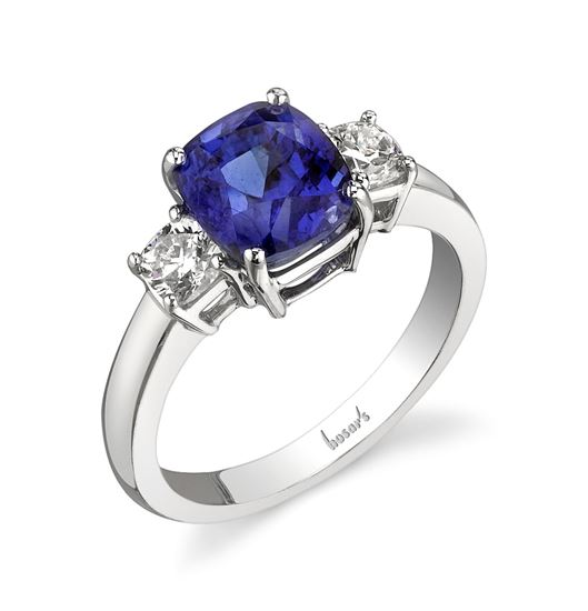 14Kt. White Gold Three Stone Style Sapphire and Royal Princess Diamond Ring