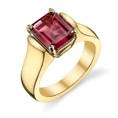 14Kt Yellow Gold Classic Cathedral Emerald Cut Rhodalite Garnet RIng