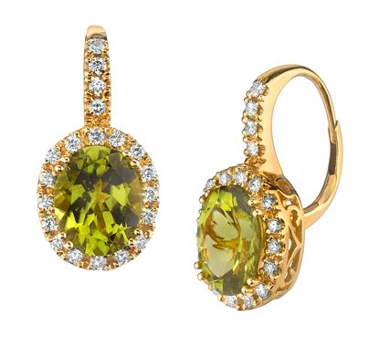 14Kt Yellow Gold Vintage style Oval Peridot and Diamond Halo Earrings with Leverbacks.