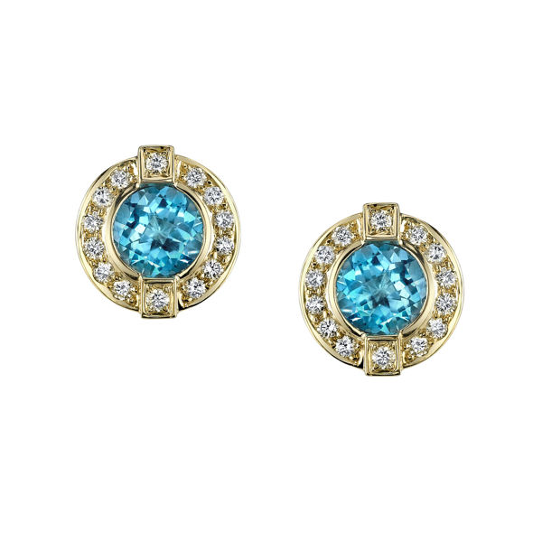 14Kt Yellow Gold Unique Halo Style Blue Topaz and Diamond Stud Earrings