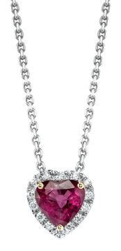 14Kt. White and Yellow Gold Heart Shaped Ruby and Diamond Halo Necklace