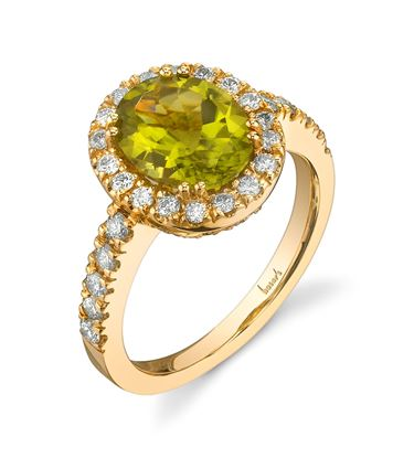 14Kt Yellow Gold Classic Halo Style Oval Peridot and Diamond Ring