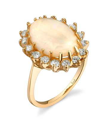 14Kt Yellow Gold Distinctive Halo Style Oval Opal and Diamond Ring