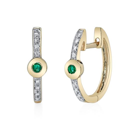 14Kt Yellow Gold Classic Emerald and Diamond Hoop Earrings