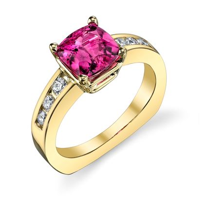 14Kt. Yellow Gold Euro Shank Style Rubellite Tourmaline and Diamond Ring